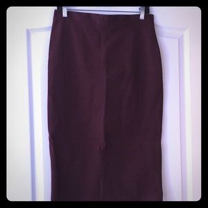 Banana Republic Burgundy Pencil Skirt Front Slit